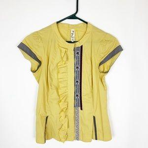 Anthropologie Floreat yellow mustard blouse